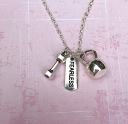 I Am Fearless Dumbbell & Kettlebell Necklace