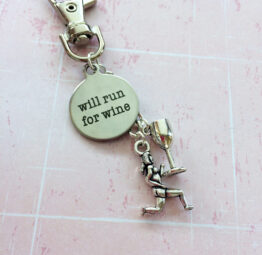 Will Run For Wine - Running Keychain