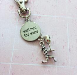 Will Run For Wine - Running Keychain